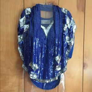 Tops - 2 pc sequin blouse/scarf Vintage Sz M